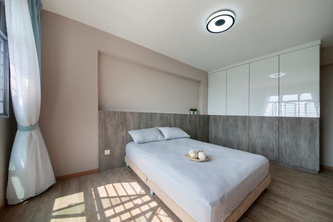 Upper Serangoon View, M3 Studio, Minimalistic, Bedroom, HDB, Wardrobe, Ceiling Lamp, Wall Ledge, Display Ledge, Display Ledge Behind Bed, Bed, Furniture, Indoors, Interior Design, Room
