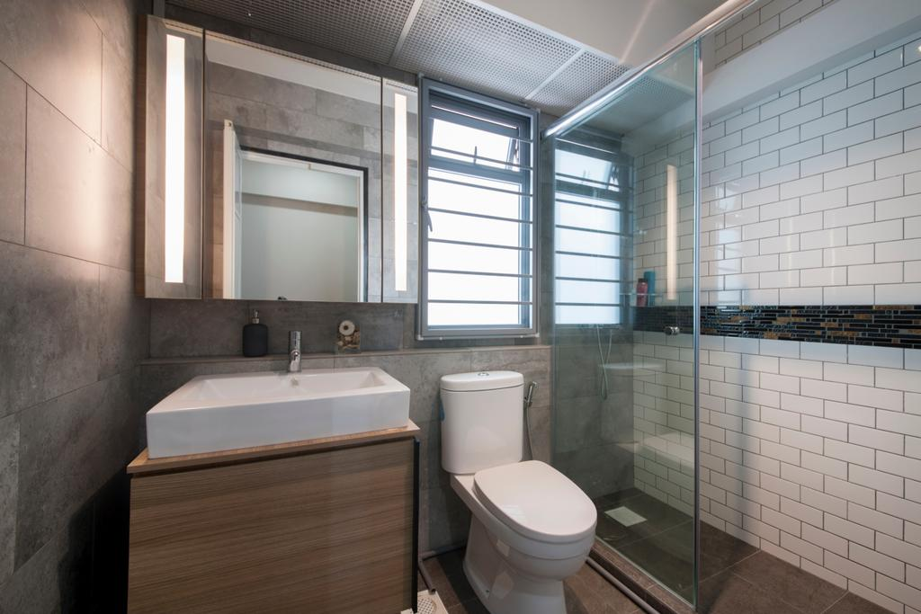 Minimalistic, HDB, Bathroom, Upper Serangoon View, Interior Designer, M3 Studio, Subway Tiles, Shower Area, Shower Screen, Glass Partition, Monochrome, Shutter Window, Toilet, Indoors, Interior Design, Room