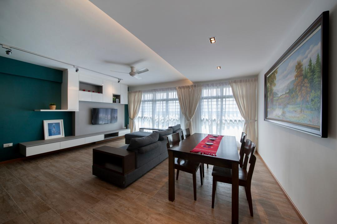 Upper Serangoon View, M3 Studio, Minimalistic, Dining Room, HDB, Dining Table, Dining Chairs, Table Runner, Painting, Wall Decor, Home Decor, Wall Art, Blue, Blue Walls, Dark Walls, Furniture, Table, Building, Housing, Indoors, Loft, Couch, Room, Interior Design