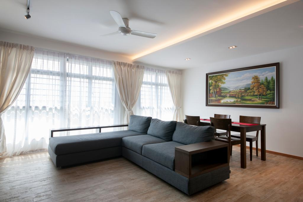 Minimalistic, HDB, Living Room, Upper Serangoon View, Interior Designer, M3 Studio, Sectionals, Grey Sofa, Dark Coloured Sofa, L Shaped Sofa, Bright And Airy, Couch, Furniture, Dining Table, Table, Chair, Indoors, Room, Hardwood, Wood