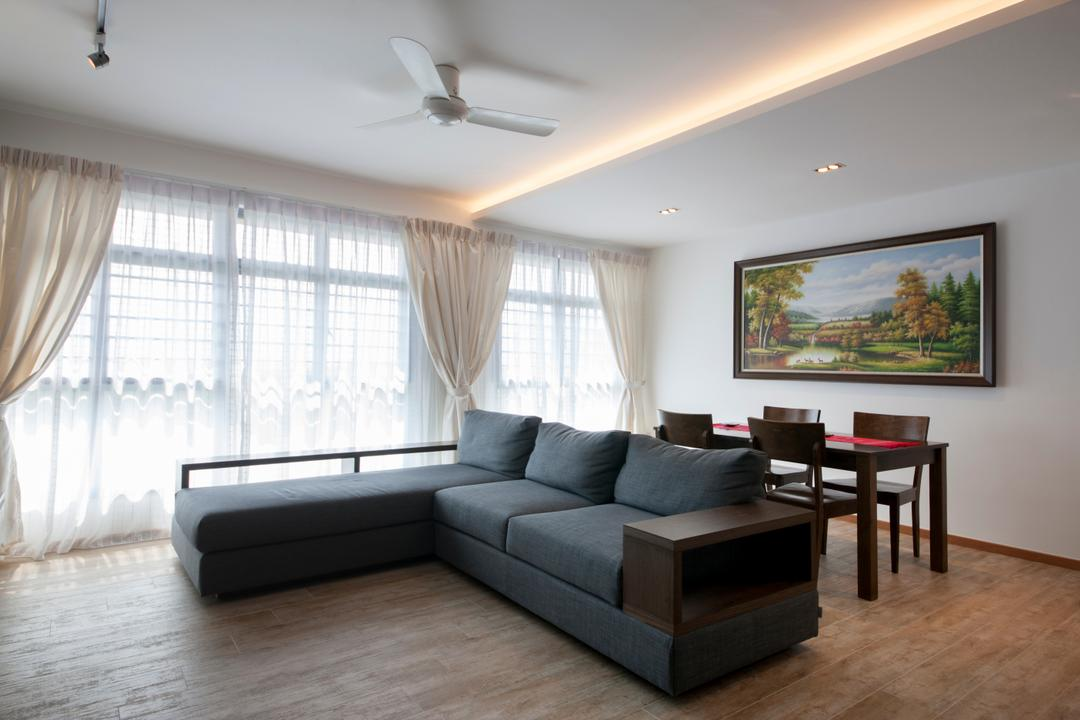 Upper Serangoon View, M3 Studio, Minimalistic, Living Room, HDB, Sectionals, Grey Sofa, Dark Coloured Sofa, L Shaped Sofa, Bright And Airy, Couch, Furniture, Dining Table, Table, Chair, Indoors, Room, Hardwood, Wood