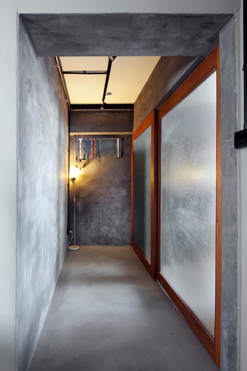 Industrial, HDB, Kitchen, Boon Tiong Road, Interior Designer, Versaform, Cement, Cement Screed, Raw, Sliding Door, Corridor, Kitchen Door