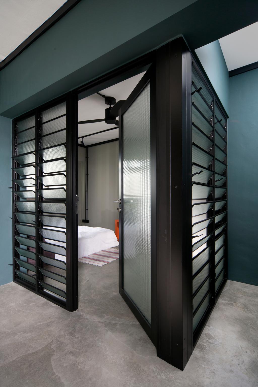Industrial, HDB, Bedroom, Boon Tiong Road, Interior Designer, Versaform, Black Frames, Black Framed Door