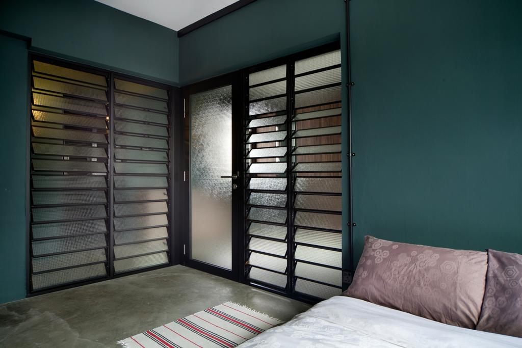 Industrial, HDB, Bedroom, Boon Tiong Road, Interior Designer, Versaform, Door, Glass Door, Tinted Door, Tinted Glass, Window Shutters, Black Framed Door