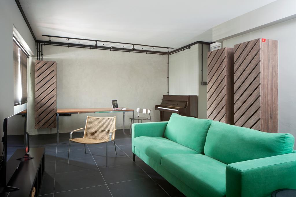Industrial, HDB, Living Room, Boon Tiong Road, Interior Designer, Versaform, Retro, Retro Furniture, Green, Loveseat, Chairs, Cabinetry, Cabinet, Old School, Piano, Chair, Furniture, Couch, Indoors, Interior Design, Leisure Activities, Music, Musical Instrument, Upright Piano, Building, Housing, Loft