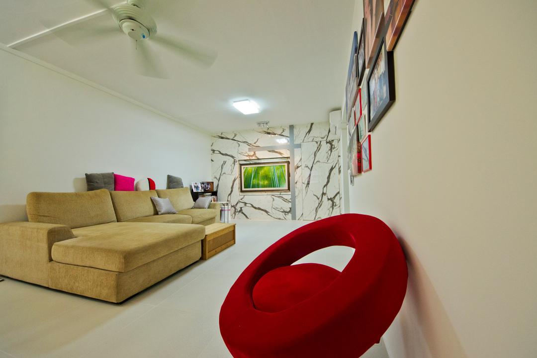 Mcnair Road (Blk 108), Ingenious Design Solutions, Traditional, Living Room, HDB, Designer Chair, Red Designer Chair, Ceiling Fan, White Ceilng Fan, Living Room Design, Simple Living Room, Sectionals, Sectional, Sectional Sofa, Picture Frames, Couch, Furniture, Building, Housing, Indoors
