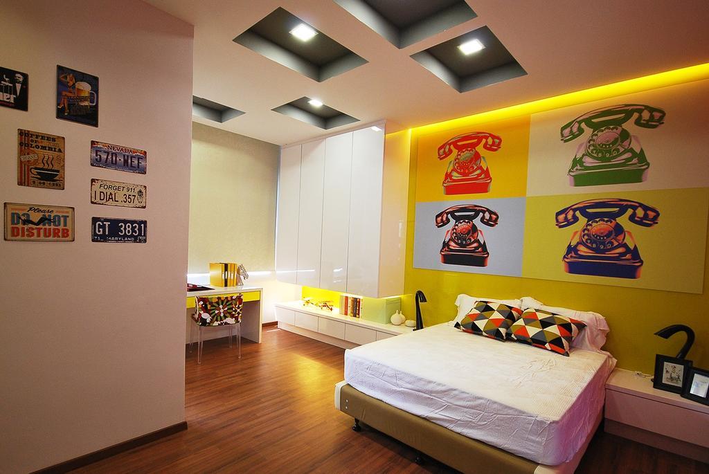 Eclectic, Landed, Bedroom, Ipoh South, Interior Designer, The Grid Studio, Flooring, Bed, Furniture