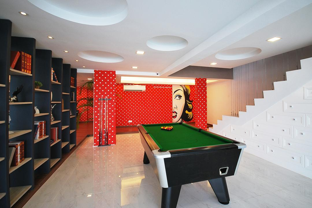 Ipoh South, The Grid Studio, Eclectic, Study, Landed, Billiard Room, Furniture, Indoors, Pool Table, Room, Table, Bookcase