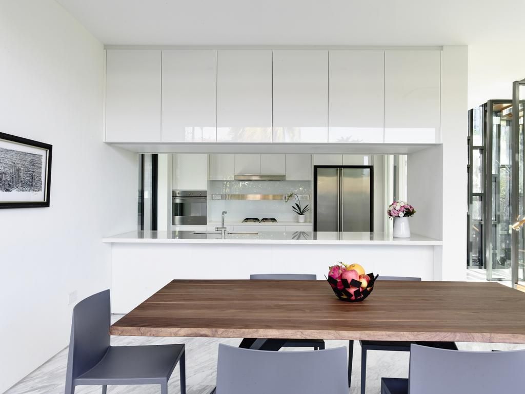 Modern, Landed, Dining Room, Toh Crescent, Architect, HYLA Architects, Door, Sliding Door, Dining Table, Furniture, Table, Indoors, Interior Design, Room, Kitchen