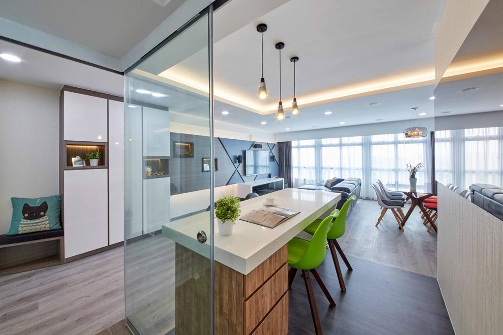 Modern, HDB, Dining Room, Fernvale Link (Block 415C), Interior Designer, i-Chapter, Dining Table, Dining Chairs, Eames Chair, , Pendant Lamp, Hanging Lamp, Green Chairs, Cabinetry, Cove Lighting, Indoors, Interior Design, Balcony, Room, Furniture, Table