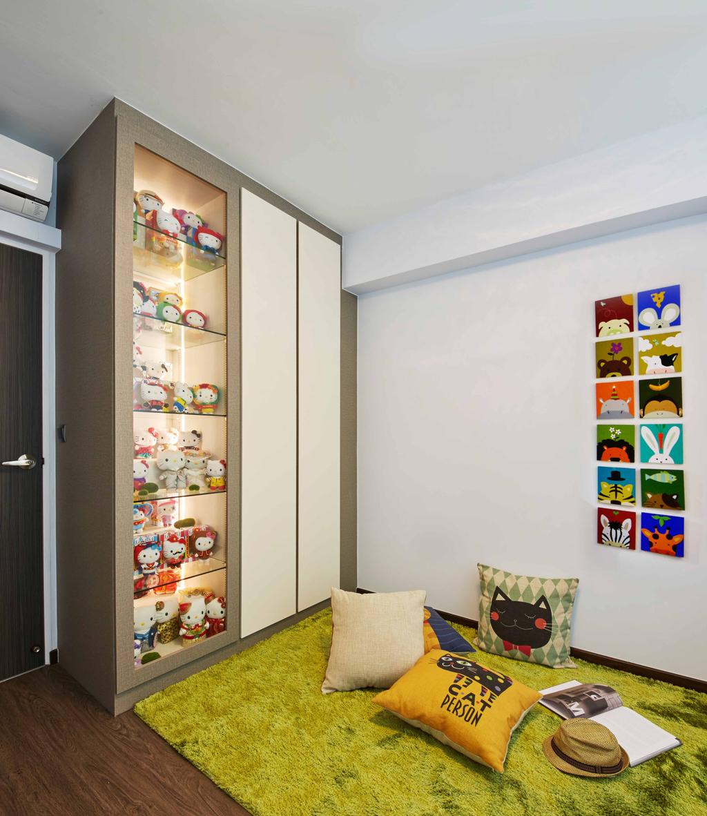 Modern, HDB, Study, Fernvale Link (Block 415C), Interior Designer, i-Chapter, Carpet, Cosy Corner, Cushions, Toys, Cute, Display Cabinet, Cabinetry, Collection, Collectible