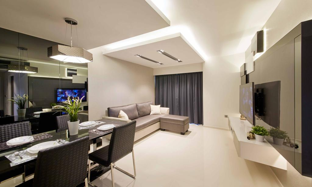 Modern, HDB, Dining Room, SkyTerrace@Dawson (Block 90), Interior Designer, i-Chapter, Dining Table, Dining Chairs, Chairs, Tv Console, Floating Console, Cove Lighting, Concealed Lighting, Hanging Lamp, Reflective Panels, Monochromatic, Sink, Chair, Furniture