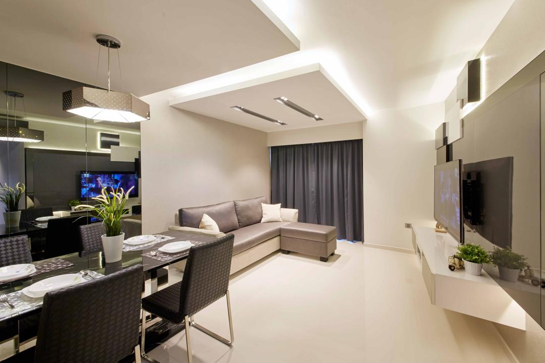 SkyTerrace@Dawson (Block 90), i-Chapter, Modern, Dining Room, HDB, Dining Table, Dining Chairs, Chairs, Tv Console, Floating Console, Cove Lighting, Concealed Lighting, Hanging Lamp, Reflective Panels, Monochromatic, Sink, Chair, Furniture