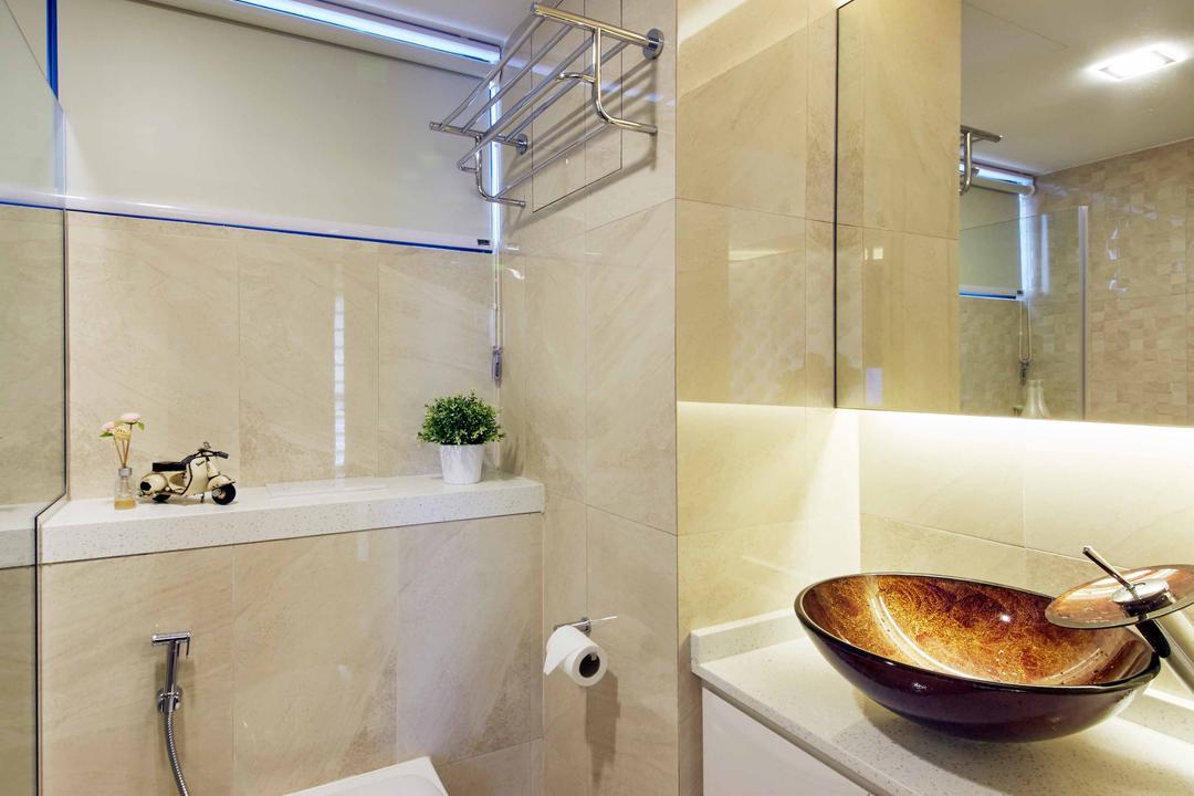 SkyTerrace@Dawson (Block 90), i-Chapter, Modern, Bathroom, HDB, Water Closet, Toilet Bowl, Bathroom Vanity, Vessel Sink, Mirror, Cream, Cream Colour, Concealed Lighting, Banister, Handrail