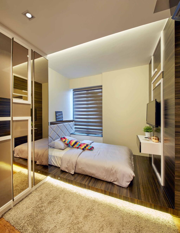 Modern, HDB, Bedroom, SkyTerrace@Dawson (Block 90), Interior Designer, i-Chapter, Carpet, Platform, Platform Bed, Blinds, Korean Blinds, Reflective Panels, Cabinetry, Building, Hostel, Housing, Indoors, Interior Design, Room