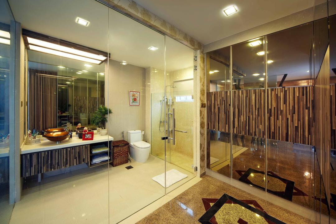 Dondang Sayang, i-Chapter, Transitional, Bathroom, Landed, Glass Door, Glass, Bathroom Vanity, Wood, Water Closet, Toilet Bowl, Mirror, Downlight, Marble Flooring, Hotel, Hotel Style, Toilet, Appliance, Electrical Device, Oven, Indoors, Interior Design
