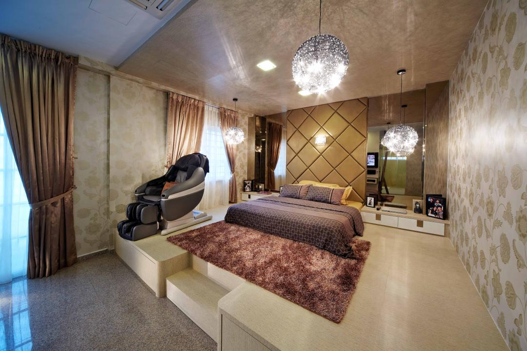 Dondang Sayang, i-Chapter, Transitional, Bedroom, Landed, Platform, Platform Bed, Princessy, Girly, Wallpaper, Crystal Lights, Massage Chair, Upholstered Wall, Cushioned Wall, Carpet, Expensive, Luxe, Luxurious, Curtain, Home Decor, Indoors, Interior Design, Room
