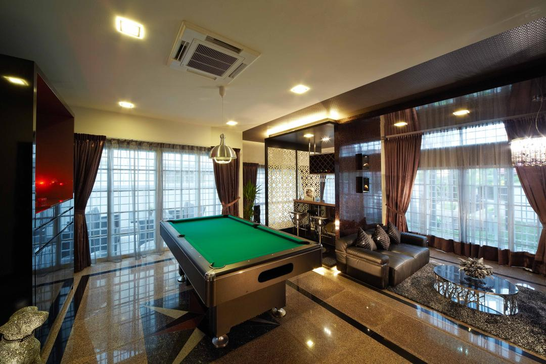 Dondang Sayang, i-Chapter, Transitional, Living Room, Landed, Pool Table, , Gaming Room, Games, Downlight, Open Space, Curtains, Sofa, Black Sofa, Air Conditioner, Billiard Room, Furniture, Indoors, Room, Table, Banister, Handrail