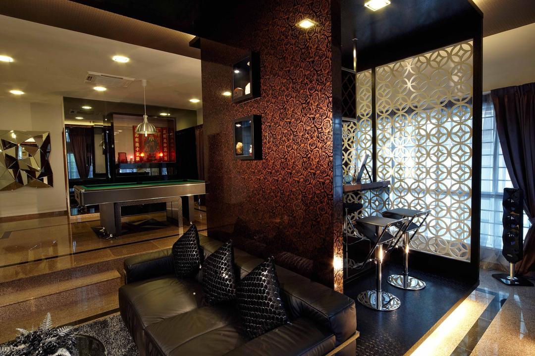 Dondang Sayang, i-Chapter, Transitional, Living Room, Landed, Platform, Sofa, Black Sofa, Cove Lighting, Dark Colours, Dark Room, Black, Carpet, Downlight, Couch, Furniture, Chair, HDB, Building, Housing, Indoors, Loft