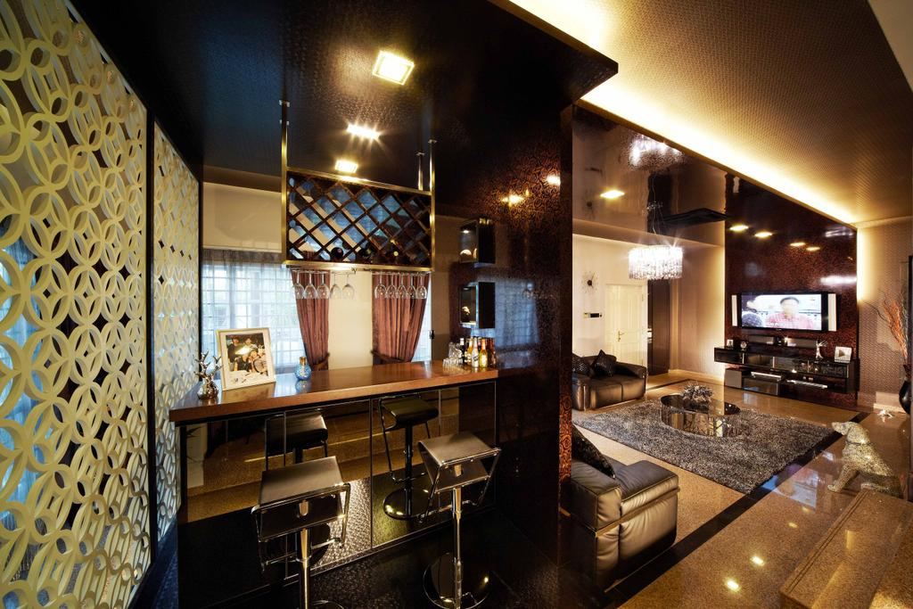 Transitional, Landed, Living Room, Dondang Sayang, Interior Designer, i-Chapter, Stools, High Stools, Bar Stools, Hanging Kitchen Rack, Partition, Downlight, Cove Lighting, Countertop, Electronics, Entertainment Center, Home Theater, Couch, Furniture