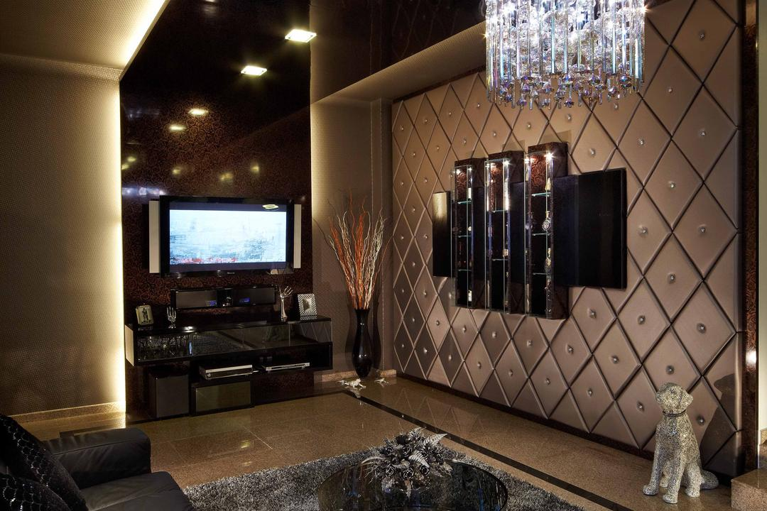 Dondang Sayang, i-Chapter, Transitional, Living Room, Landed, Feature Wall, Chandelier, Cushioned Wall, Crystal Lights, Carpet, Coffee Table, Sofa, Black Sofa, Cove Lighting, Dark, Chic, Dark Room, Couch, Furniture, Appliance, Electrical Device, Oven, Electronics, Entertainment Center, Home Theater, Lamp
