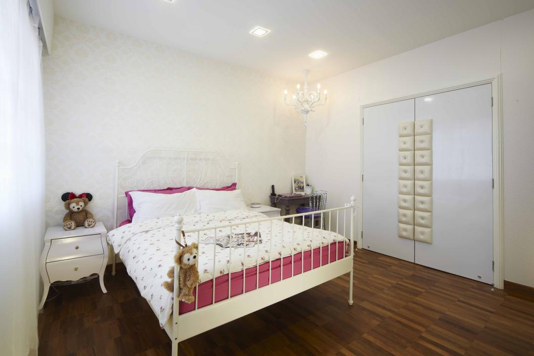 Countryside View, i-Chapter, Transitional, Bedroom, Landed, Bed Frame, Girls Room, Girly, Toys, Side Table, Bedside Table, Chandelier, Pink, Floral, Bed, Furniture, Indoors, Interior Design, Room, HDB, Building, Housing, Loft