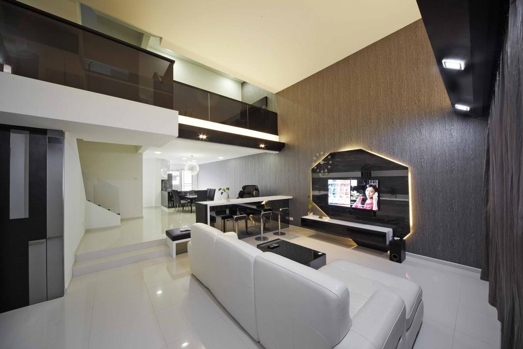 Countryside View, i-Chapter, Transitional, Living Room, Landed, Sofa, White Sofa, Feature Wall, Tv Console, Floating Console, Monochrome, Monochromatic, Black And White, Black Walls, High Ceiling, Corridor