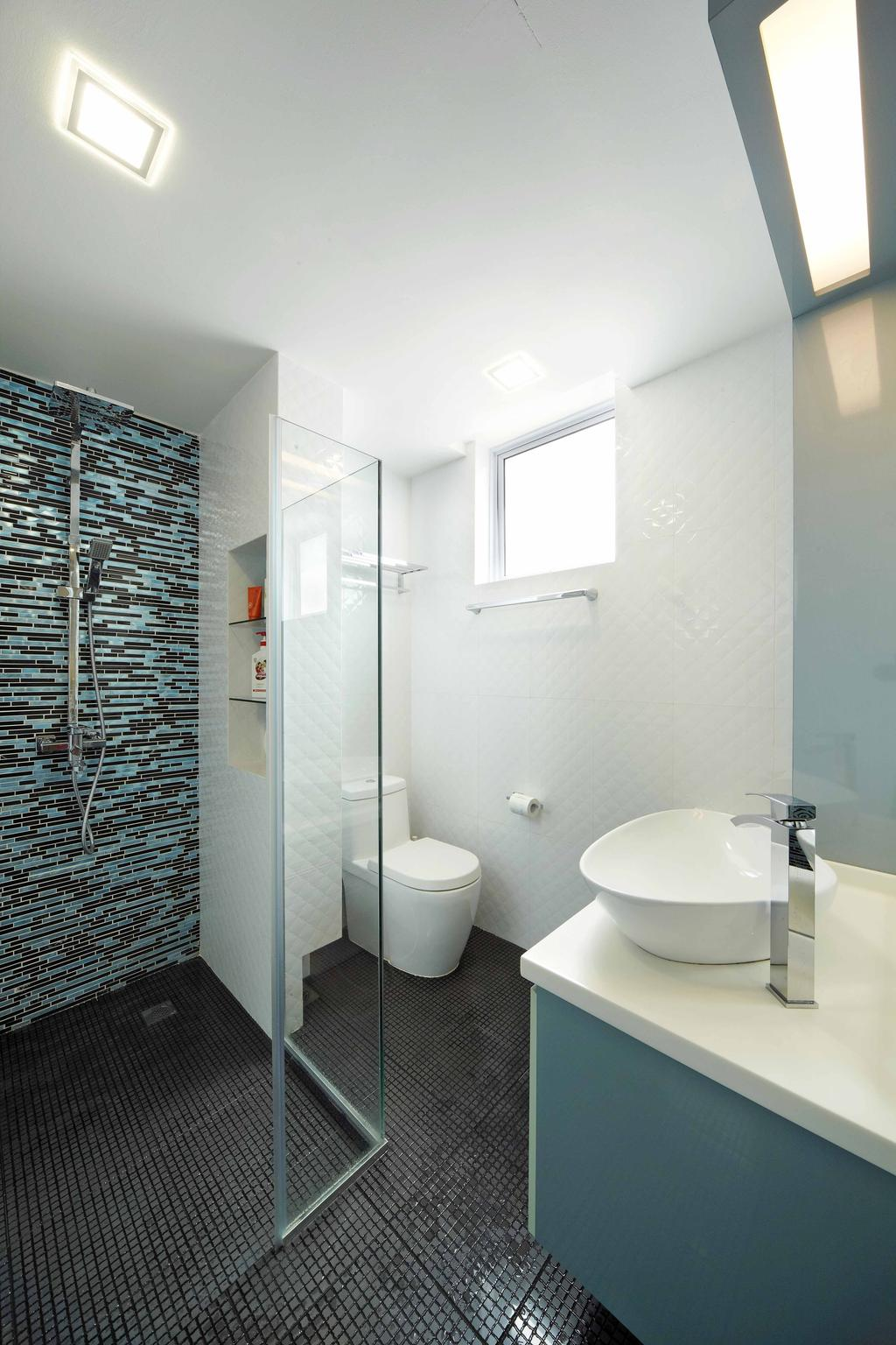 Transitional, Landed, Bathroom, Countryside View, Interior Designer, i-Chapter, Blue, Vessel Sink, Bathroom Tiles, Shower Screen, Toilet, Indoors, Interior Design, Room