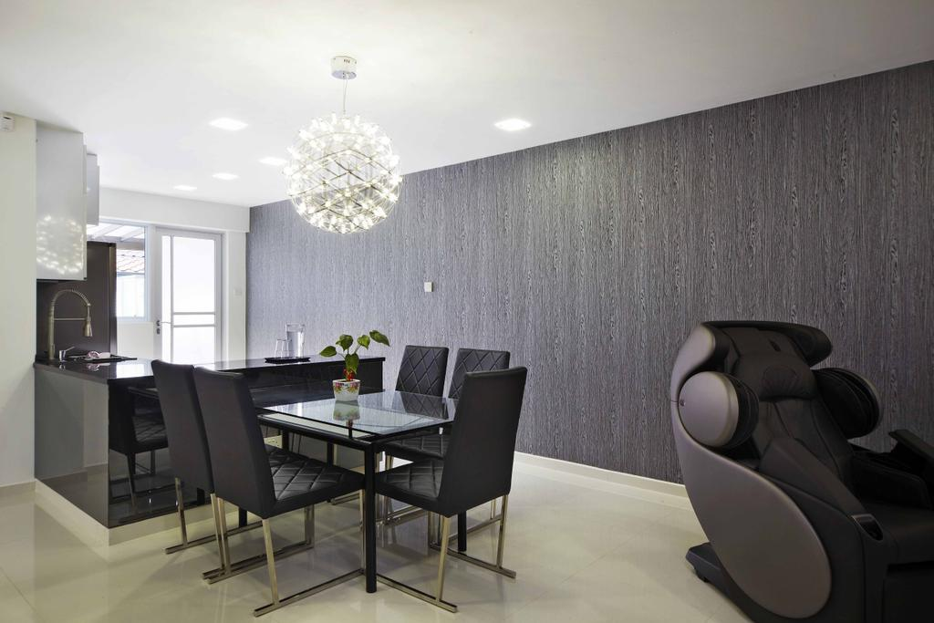 Transitional, Landed, Dining Room, Countryside View, Interior Designer, i-Chapter, Dining Chairs, Chairs, Dining Table, Crystal Lights, Massage Chair, Dark Walls, Chair, Furniture, Table, Indoors, Interior Design, Room, Office