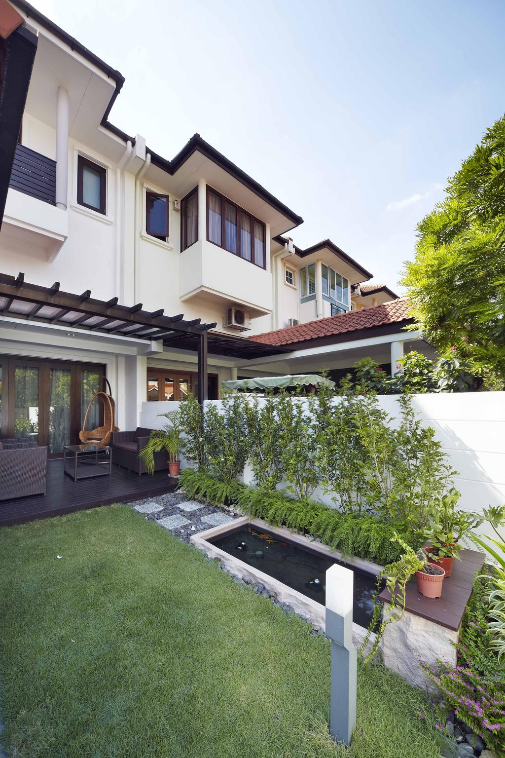Transitional, Landed, Garden, Countryside View, Interior Designer, i-Chapter, Plants, Greeneries, Balcony, Porch, Flora, Jar, Plant, Potted Plant, Pottery, Vase, Building, House, Housing, Villa