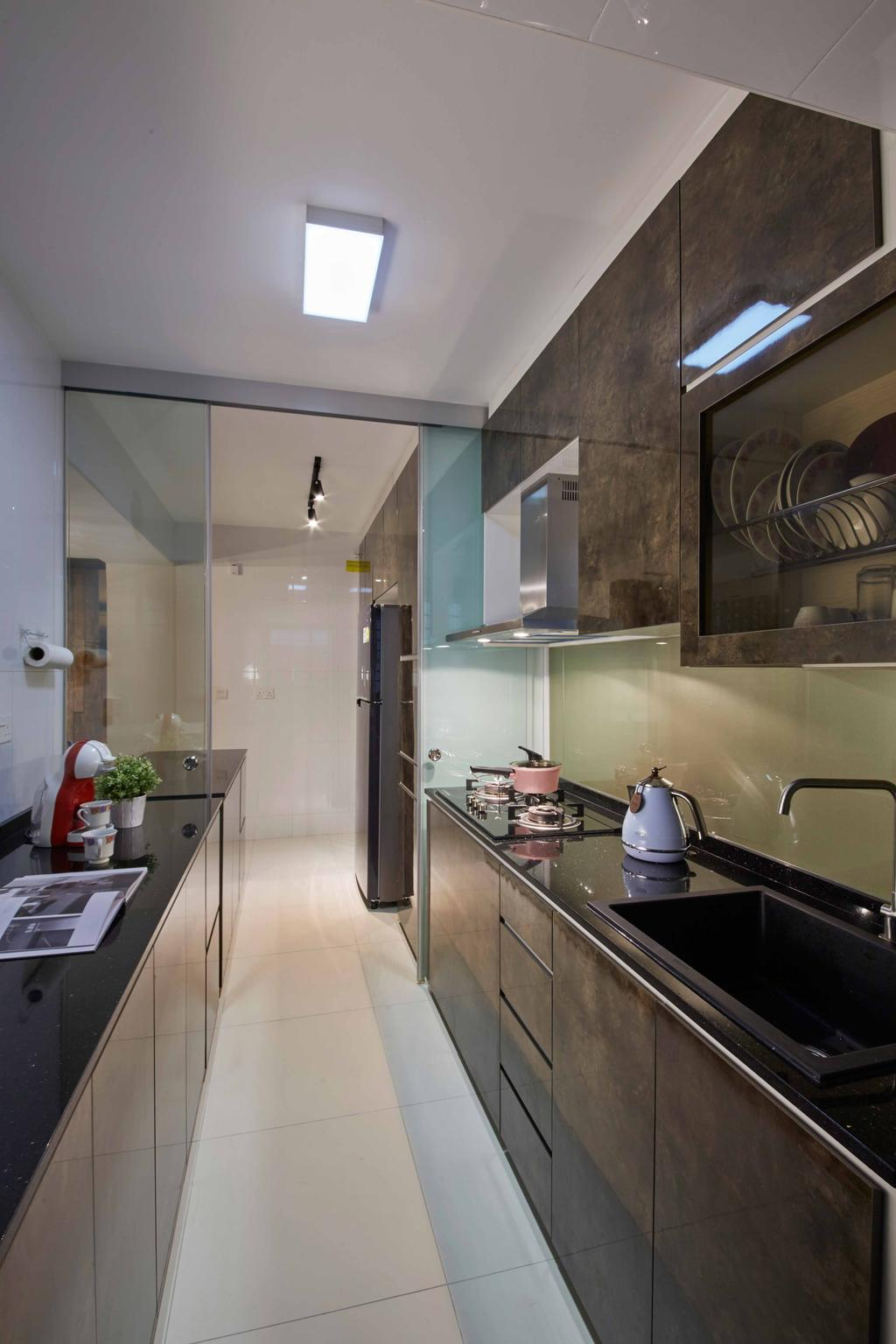 Modern, HDB, Kitchen, Punggol Way (Block 310C), Interior Designer, i-Chapter, Kitchen Cabinet, Cabinetry, Exhaust Hood, Brown Cabinet, Kitchen Sink, Sink, Kitchen Countertop, Indoors, Interior Design, Room, Bathroom