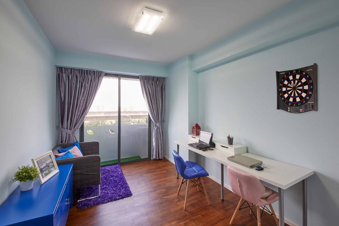 Punggol Way (Block 310C), i-Chapter, Modern, Study, HDB, Eames Chair, Colourful, Colours, Dart Board, Study Table, Sofa, Couch, Side Table, Side Board, Curtains, Darts, Game, Curtain, Home Decor, Indoors, Room, Molding, Dining Room, Interior Design, Furniture, Table, Balcony, Dining Table