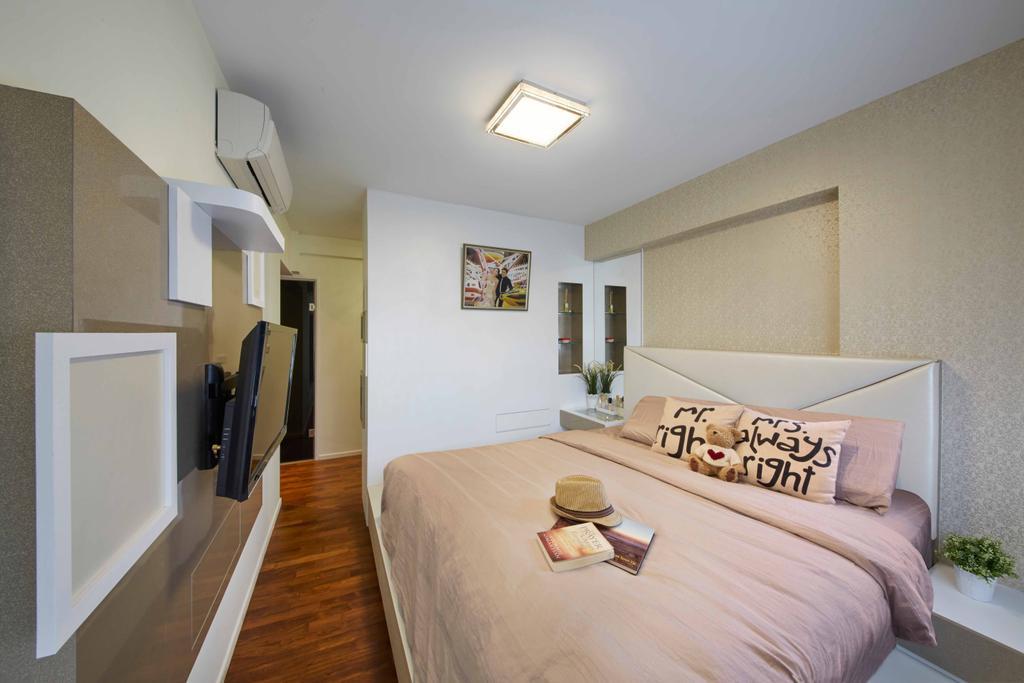 Modern, HDB, Bedroom, Punggol Way (Block 310C), Interior Designer, i-Chapter, Girly, Girlish, Girls, Girls Room, Pink