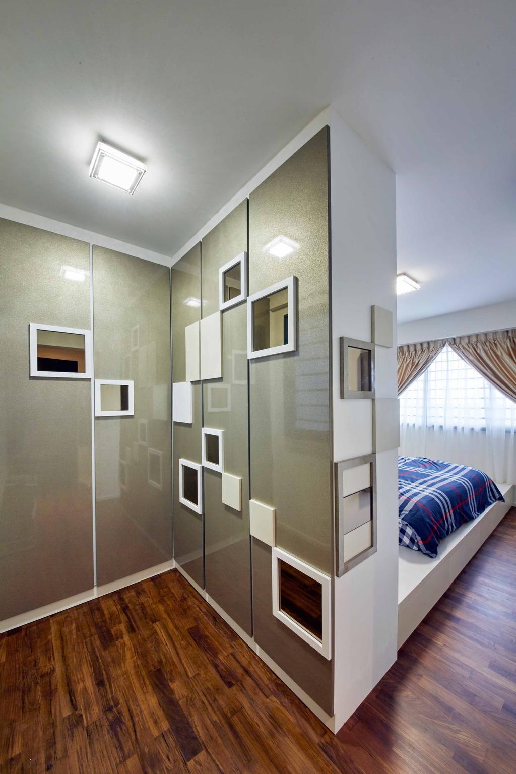 Modern, HDB, Bedroom, Punggol Way (Block 310C), Interior Designer, i-Chapter, Partition, Platform, Platform Bed, Shelving, Cabinetry, Wardrobe, Shelf
