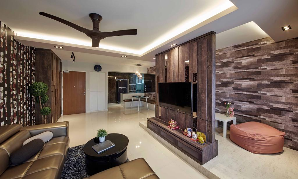 Modern, HDB, Living Room, Punggol Way (Block 310C), Interior Designer, i-Chapter, Tv Console, Partition, Haiku Fan, Cove Lighting, Coffee Table, Sofa, Wallpaper, Rustic, Bean Bag, Brown, Dark Colours, Flora, Jar, Plant, Potted Plant, Pottery, Vase, Couch, Furniture, Table