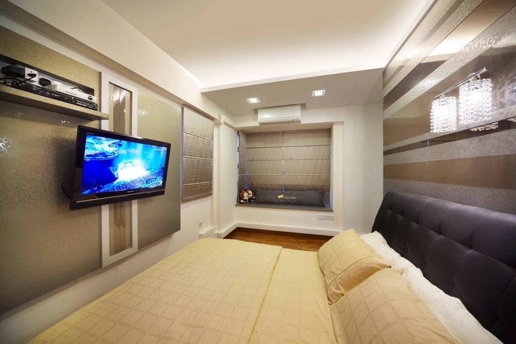 Modern, HDB, Bedroom, Punggol (Block 274C), Interior Designer, i-Chapter, Headboard, Wall Mounted Tv, Shelf, , Wall Shelf, Gold Colour, Bay Window, Electronics, Monitor, Screen, Tv, Television