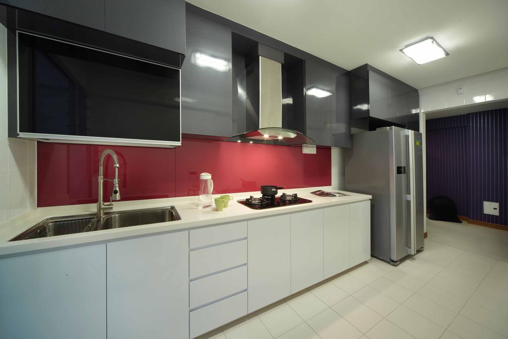 Modern, HDB, Kitchen, Punggol (Block 274C), Interior Designer, i-Chapter, Kitchen Cabinet, Cabinetry, Exhaust Hood, Dual Colour Cabinet, Backplash, Monochrome, Refrigerator, Black And White, Indoors, Interior Design, Room, Bathroom