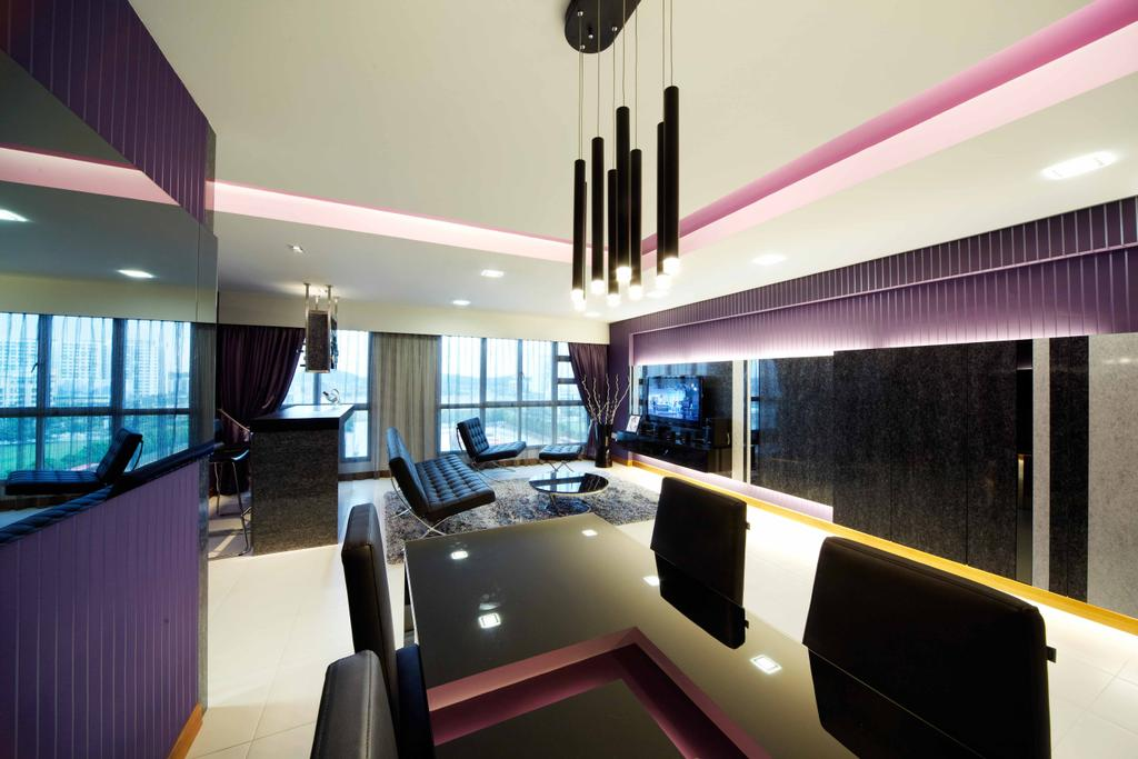 Modern, HDB, Living Room, Punggol (Block 274C), Interior Designer, i-Chapter, Dining Table, , Hanging Lamp, Dining Chairs, Chairs, Reflective Panels, Purple Wall, Conference Room, Indoors, Meeting Room, Room, Building, Housing