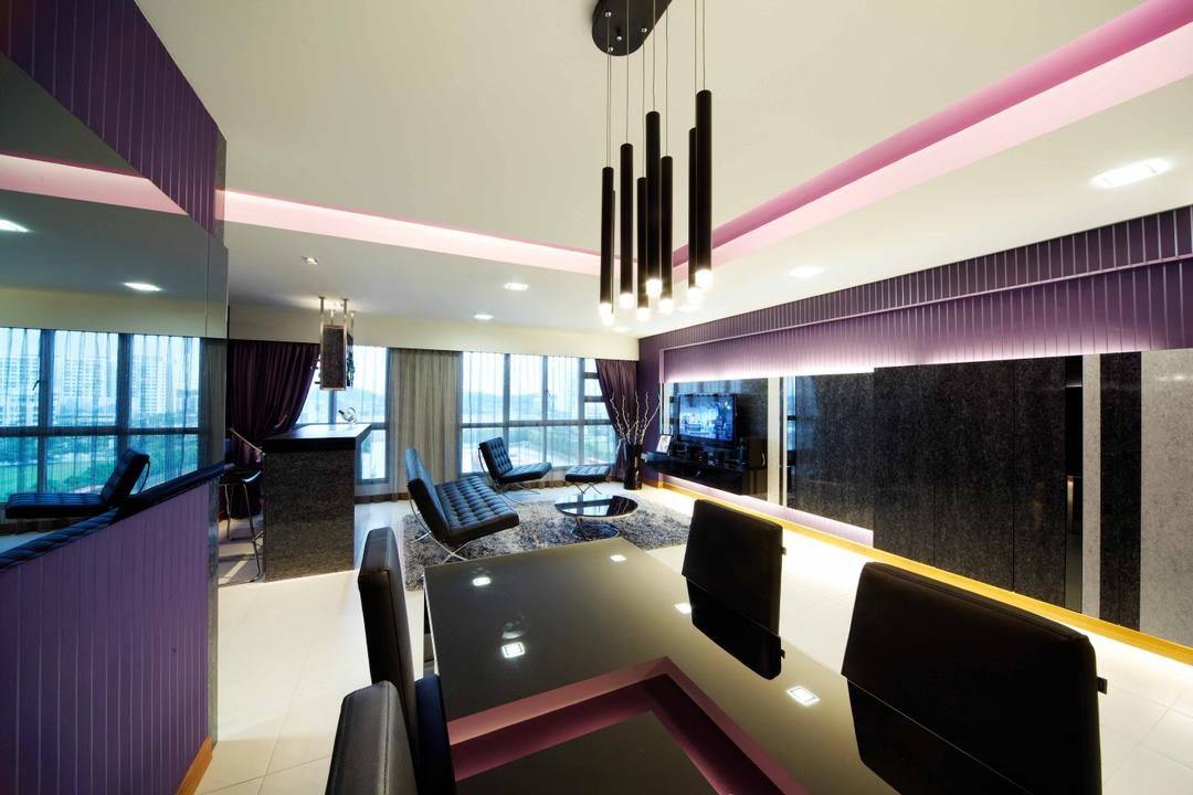 Punggol (Block 274C), i-Chapter, Modern, Living Room, HDB, Dining Table, , Hanging Lamp, Dining Chairs, Chairs, Reflective Panels, Purple Wall, Conference Room, Indoors, Meeting Room, Room, Building, Housing