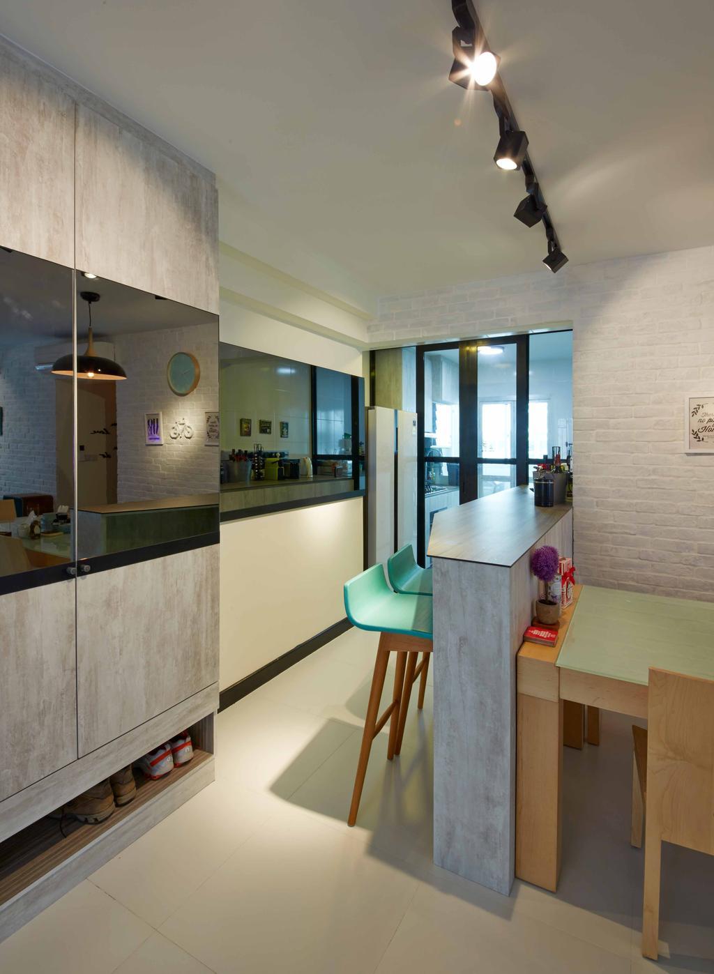 Modern, HDB, Dining Room, Anchovale Link (Block 331A), Interior Designer, i-Chapter, Minimalistic, Kitchen Peninsula, Stools, High Stools, Bar Stools, Reflective Panels, Blue Stools, Chair, Furniture, Indoors, Interior Design, Room