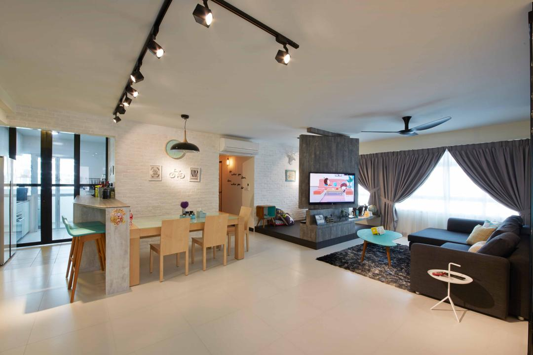 Anchovale Link (Block 331A), i-Chapter, Modern, Minimalistic, Living Room, HDB, Spacious, Open Space, Dining Table, Track Lighting, Chairs, Wood, Couch, Furniture, Table, Indoors, Interior Design, Room