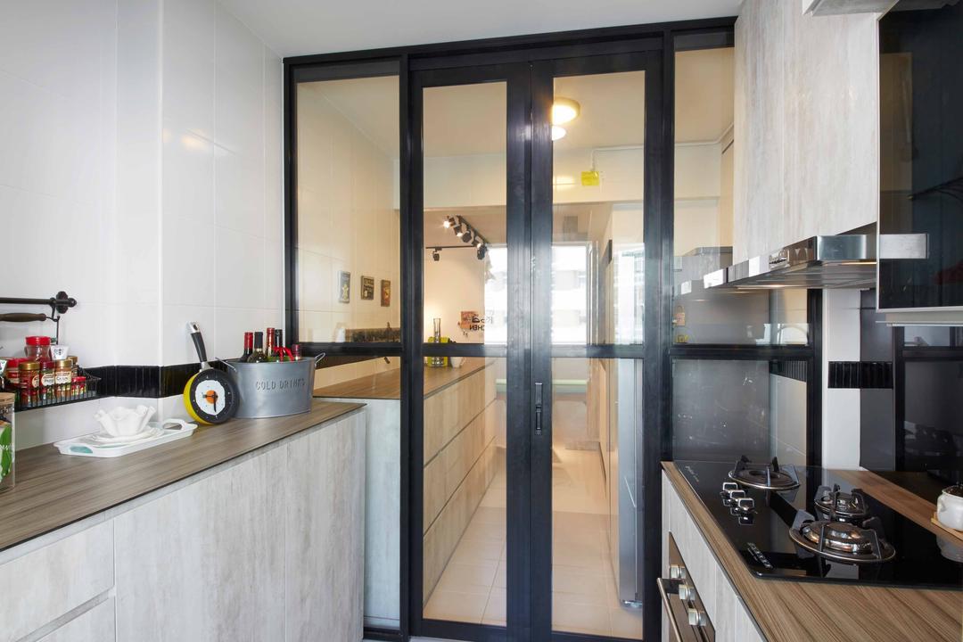 Anchovale Link (Block 331A), i-Chapter, Modern, Minimalistic, Kitchen, HDB, Door, Kitchen Door, Ceiling Lamp, Kitchen Countertop, Countertop, Kitchen Cabinet, Indoors, Interior Design, Room