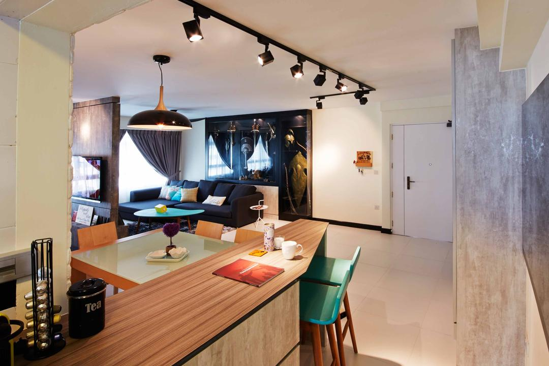 Anchovale Link (Block 331A), i-Chapter, Modern, Minimalistic, Kitchen, HDB, Kitchen Peninsula, Kompacplus, Track Lighting, Kitchen Countertop, Wood Countertop, Dining Table, Furniture, Table, Dining Room, Indoors, Interior Design, Room, Light Fixture