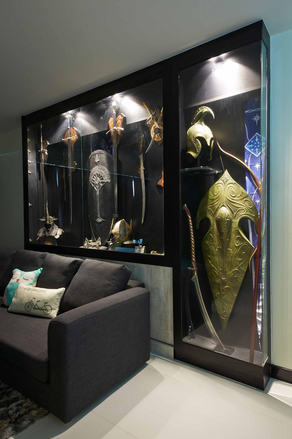Modern, HDB, Living Room, Anchovale Link (Block 331A), Interior Designer, i-Chapter, Minimalistic, Display, Display Cabinet, Collectibles, Collection, Gaming, Animal, Bat, Mammal, Wildlife, Couch, Furniture, Armor, Shield, Boot, Clothing, Cowboy Boot, Footwear, Riding Boot, Shoe