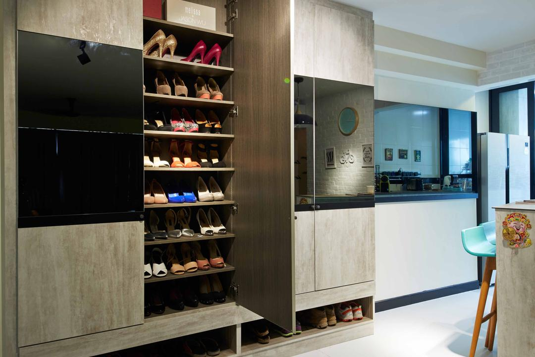 Anchovale Link (Block 331A), i-Chapter, Modern, Minimalistic, Living Room, HDB, Shoe Cabinet, Shoes, Cabinetry, Cabinet, Clothing, Footwear, Shoe, Shelf