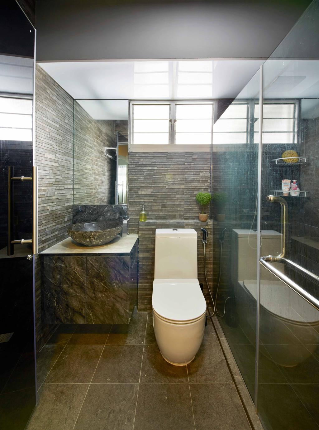 Modern, HDB, Bathroom, Anchovale Link (Block 331A), Interior Designer, i-Chapter, Minimalistic, Water Closet, Toilet Bowl, Shower Screen, Bathroom Tiles, Dark Tiles, Bathroom Sink, Vessel Sink, Mirror, Bathroom Vanity, Indoors, Interior Design, Room