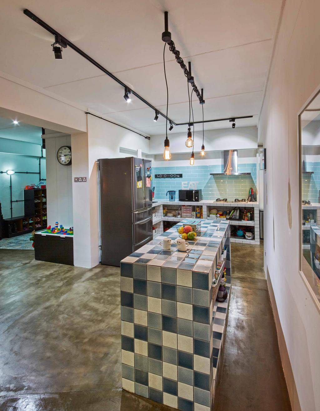 Eclectic, HDB, Kitchen, Jurong West (Block 639), Interior Designer, i-Chapter, Industrial, Mosaic Tiles, Checkers, Checkered Tiles, Kitchen Island, Kitchen Countertop, Pendant Lamp, Hanging Lamp, Light Bulb Pendant Lamp, Colourful, Indoors, Interior Design, Dining Room, Room