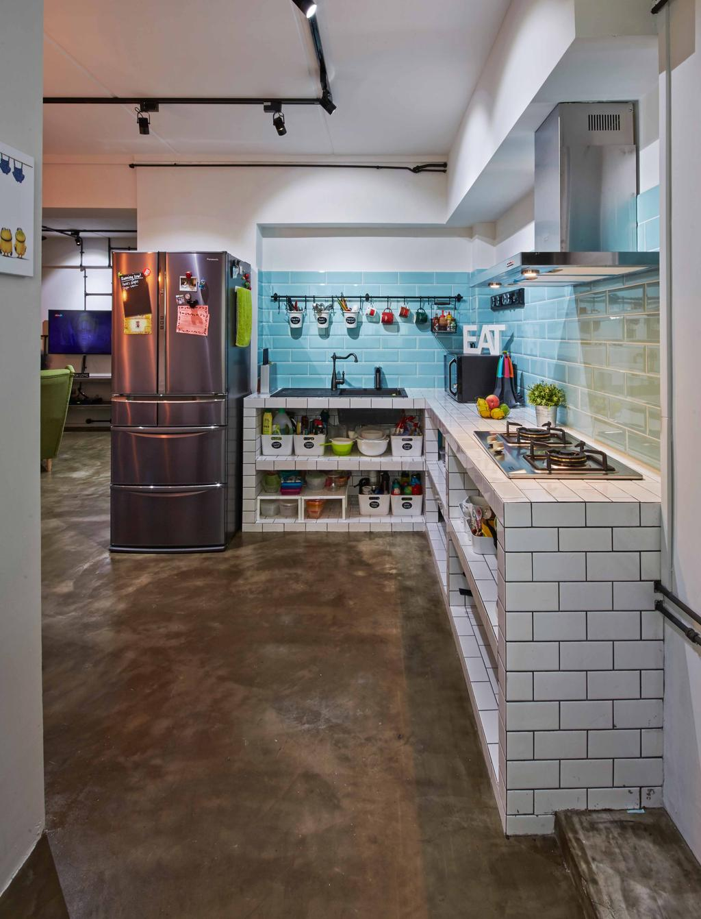 Eclectic, HDB, Kitchen, Jurong West (Block 639), Interior Designer, i-Chapter, Industrial, Subway Tiles, , Brick Tiles, White Brick, Exhaust Hood, Backsplash, Kitchen Storage, Kitchen Rack, Utensils Rack, Storage Space, Refrigerator