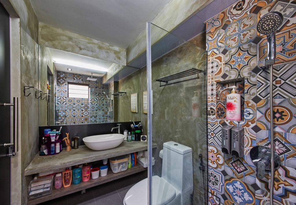 Eclectic, HDB, Bathroom, Jurong West (Block 639), Interior Designer, i-Chapter, Industrial, Patterned Tiles, Patterns, Bathroom Tiles, Bathroom Vanity, , Dim, Dark Colours, Vessel Sink, Bathroom Shelves, Mirror, Shower Screen, Shower Head, Towel Rack