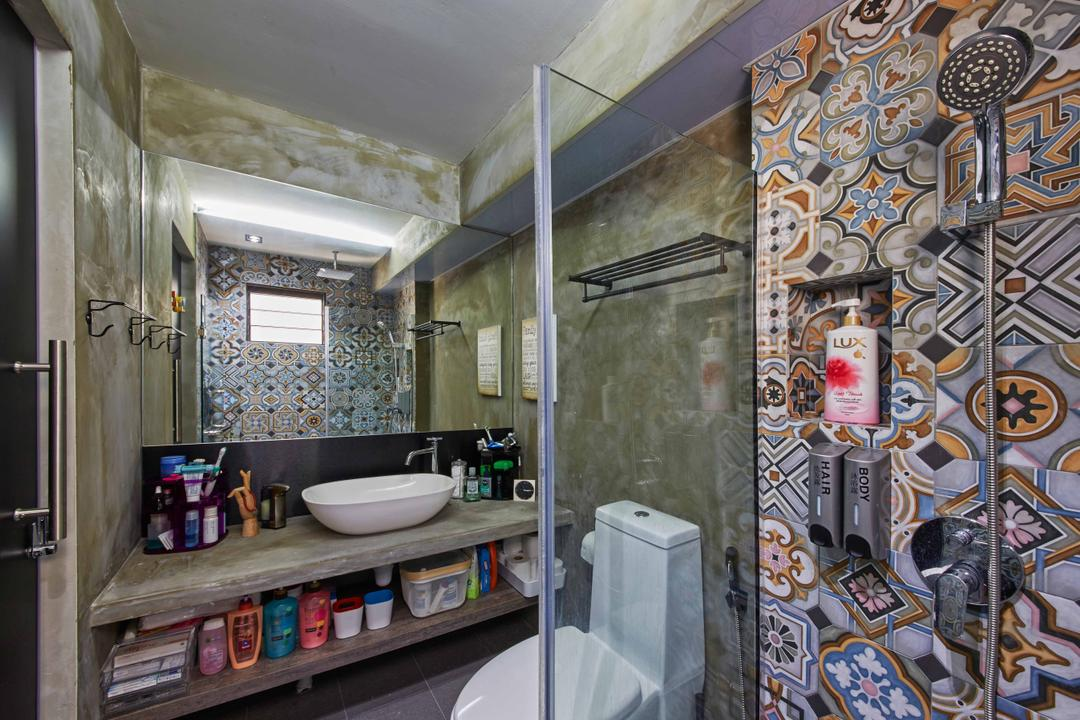 Jurong West (Block 639), i-Chapter, Eclectic, Industrial, Bathroom, HDB, Patterned Tiles, Patterns, Bathroom Tiles, Bathroom Vanity, , Dim, Dark Colours, Vessel Sink, Bathroom Shelves, Mirror, Shower Screen, Shower Head, Towel Rack
